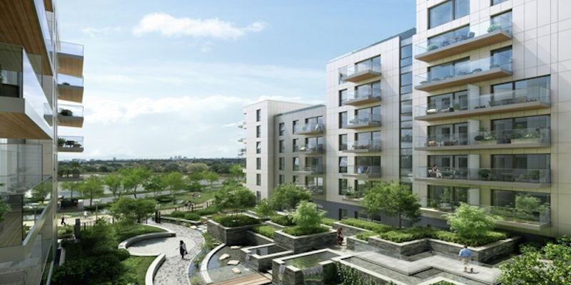 CGI Exterior of Apartments and Courtyard at Woodberry Park